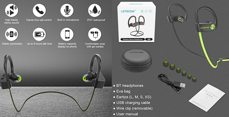 LETSCOM Bluetooth Shower Headphones